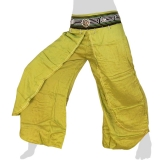 Rayon Hmong Flap Pants - Long Pants Emb Swing - light green