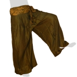 Rayon Wide Pants - Oriental Ribbon - Long Pants Plain - dark olive-green