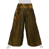 Rayon Wide Pants - Motion Ribbon - Long Pants Plain - dark olive-green