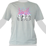 14,99 € Police vs. Butterfly-Mob - Police with batons is striking a mob, which dissolves into butterflies - good quality image print on 100% cotton T-shirt