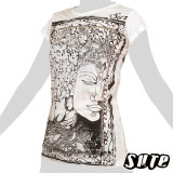 13,79 € Beautiful - Budda`s holy Face in a tree and Lotus blossoms and nice ornaments on a white shirt made of wrinkle fabric