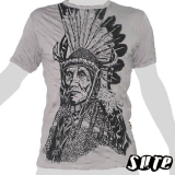 15,59 € Old Native Indian Chief with an Aztec feather-warbonnet - on a grey shirt. Impalpable print on 100% cotton.