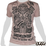 15.5€ Wrinkle fabric Shirt 100% cotton - Looking like a mystical spirit Ganesha as a tribal Image, sitting in his typical meditating Yoga-position.