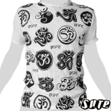 15,59 € The popular Buddhist and meditation symbol Ohm (Om, Aum) here multiple times in different styles on a white shirt.