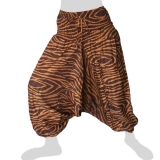 Hilltribe Aladdin Pants Skirt / Dress - Tiger Stripes Pattern - brown