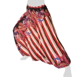 Hilltribe Aladdin Pants Skirt / Dress - Stripes & Flower Tendrils - red