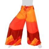 Side Slit Airy Wrap Pants Glow L - orange-red