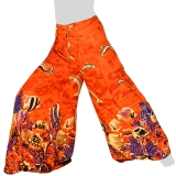 Side Slit Airy Wrap Pants Fish XL - orange