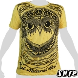 15,59 € Fancy Owlhead staring adamantly embellished with a pattern including cannabis-leaves... wrinkle-fabric 100% cotton shirt with impalpable imprint