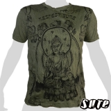 15,59 € Nice picture of a meditating Buddha. Respect Buddha. Olive grn wrinkle-fabric T-shirt with impalpable print 100% cotton