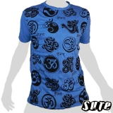 15,99 € The great Buddhist symbol Om (Ohm, Aum) here in many different styles - impalpable print  on a blue large shirt 100% cotton.