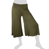 Sabaai Fabric - Calf-Length Flare Pants - olive green
